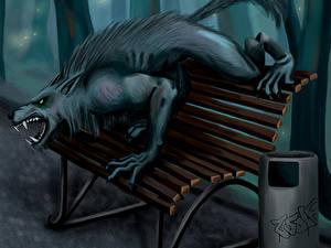 Фото Чудовище Скамья Ночью Рычит Warewolf Фантастика