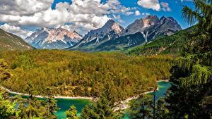 Фотографии Горы Леса Озеро Пейзаж Облака Ель Природа