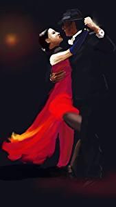 Картинка Рисованные 2 Танцует Tango девушка