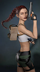 Фото Tomb Raider Legend Пистолет Tomb Raider Лара Крофт Косы Игры 3D_Графика Девушки