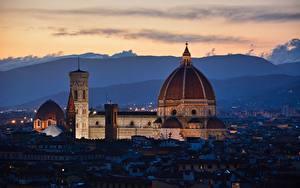 Картинки Италия Флоренция Рассветы и закаты Собор Вечер Купол Santa Maria del Fiore Города