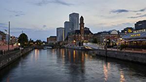 Картинки Швеция Стокгольм Дома Реки Вечер Водный канал Города