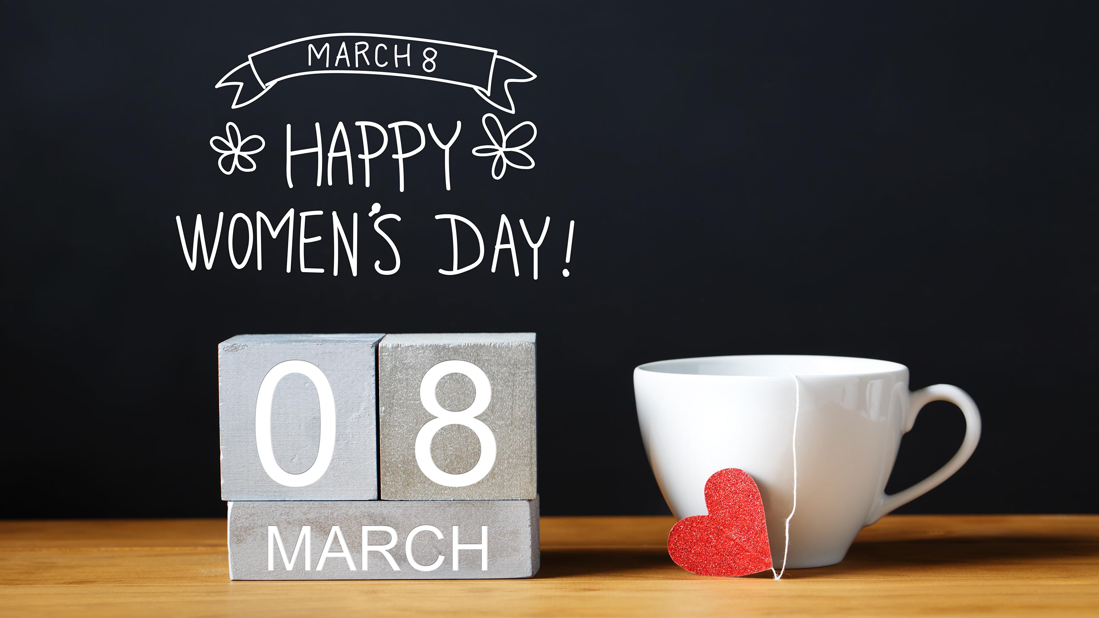 Картинки 8 марта английская Сердце Пища чашке Черный фон 3840x2160 Международный женский день инглийские Английский серце сердца сердечко Еда Чашка Продукты питания на черном фоне