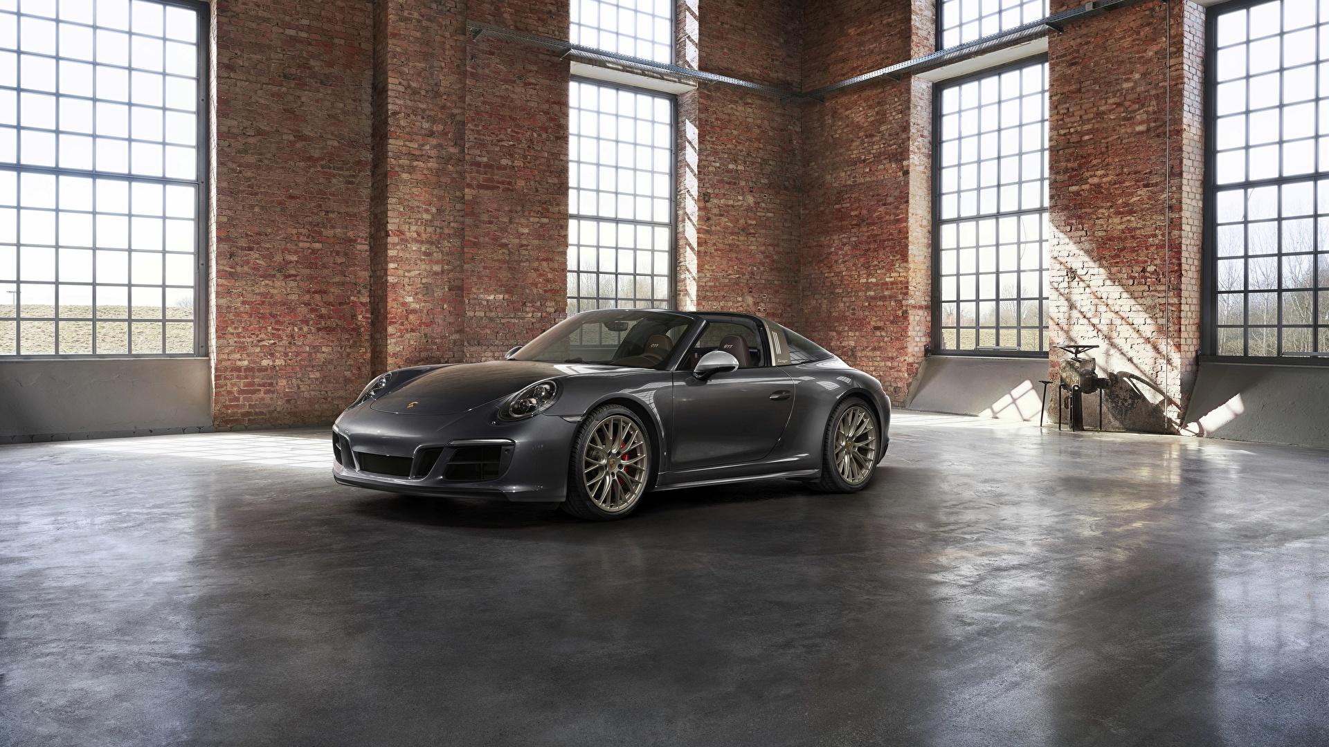 Картинки Porsche 4x4 Biturbo 911 Targa 4 GTS Exclusive Manufaktur Edition Родстер Серый Автомобили 1920x1080 Порше серые серая авто машина машины автомобиль