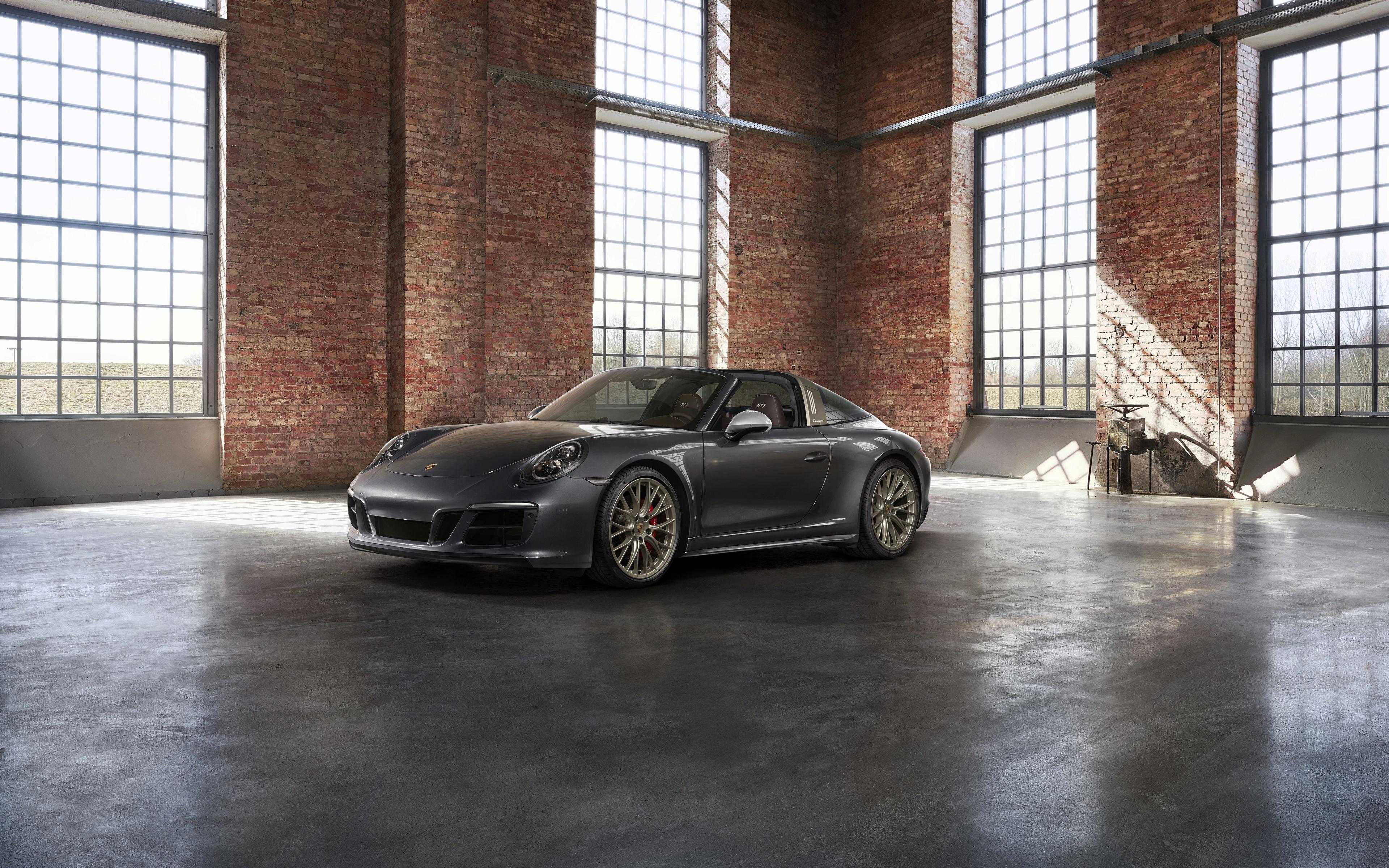 Картинки Porsche 4x4 Biturbo 911 Targa 4 GTS Exclusive Manufaktur Edition Родстер Серый Автомобили 3840x2400 Порше серые серая авто машина машины автомобиль