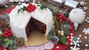 Картинка Рождество Сладости Торты Ветвь Шарики Шишки Дизайн Еда
