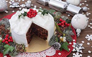 Картинка Рождество Сладкая еда Торты Ветка Шарики Шишки Дизайна