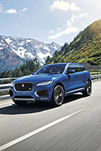 Картинки Jaguar Синий Движение 2015 F-Pace S Авто