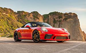 Картинки Порше Красная Металлик Кабриолета 2019 911 Speedster авто