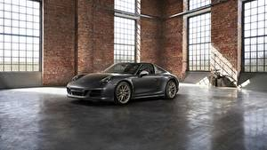 Картинки Porsche Серый Родстер 4x4 Biturbo 911 Targa 4 GTS Exclusive Manufaktur Edition Автомобили