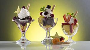 Фотография Сладкая еда Мороженое Фрукты