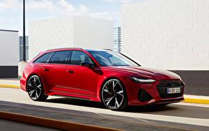 Картинки Ауди Универсал Красная Металлик RS 6 Avant AU-spec, 2020 автомобиль
