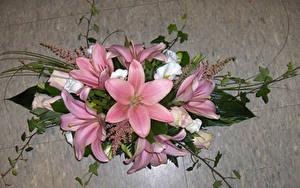 Картинка Букеты Лилии Розовых Цветы