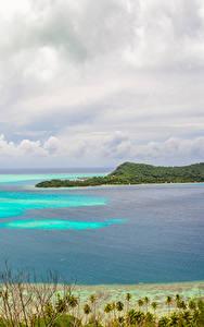 Фото Французская Полинезия Тропики Пейзаж Море Берег Небо Остров Бора-Бора Природа