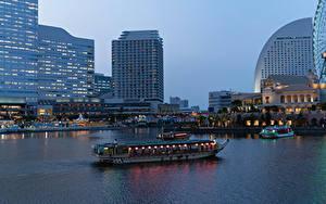 Фотографии Япония Здания Пирсы Вечер Речные суда Залива Yokohama город