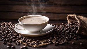 Картинки Кофе Чашка Пар Зерна Продукты питания