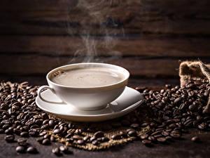 Картинки Кофе Чашка Паром Зерно Продукты питания