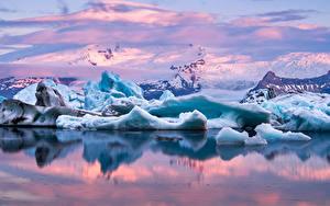 Фотография Исландия Озеро Гора Снеге Лед Jokulsarlon Lagoon Природа