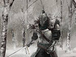 Фотографии Рыцарь Dark Souls Шлем Доспехах Меча 2 Игры Фэнтези
