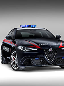 Фото Alfa Romeo Полицейские Спереди Черный 2016 Giulia Quadrifoglio Carabinieri Автомобили