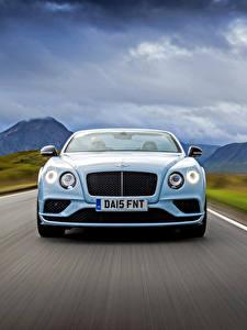 Фото Bentley Спереди Едущая Голубой Convertible 2015 Автомобили
