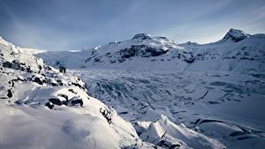 Фотографии Исландия Зимние Гора Снега Природа