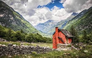 Фотография Горы Леса Камень Облака Траве HDR Природа