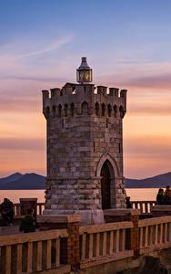 Фотография Тоскана Италия Рассветы и закаты Маяки Забор Piombino Природа