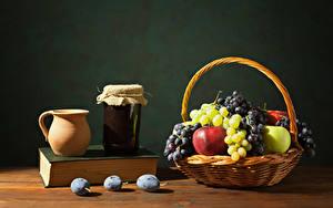 Картинки Повидло Яблоки Виноград Сливы Корзина Кувшин Банка Книга Пища
