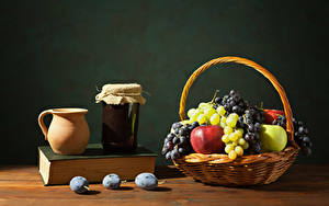 Картинки Джем Яблоки Виноград Сливы Корзинка Кувшины Банка Книга Пища