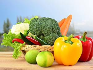 Фотографии Овощи Перец Корзина Еда