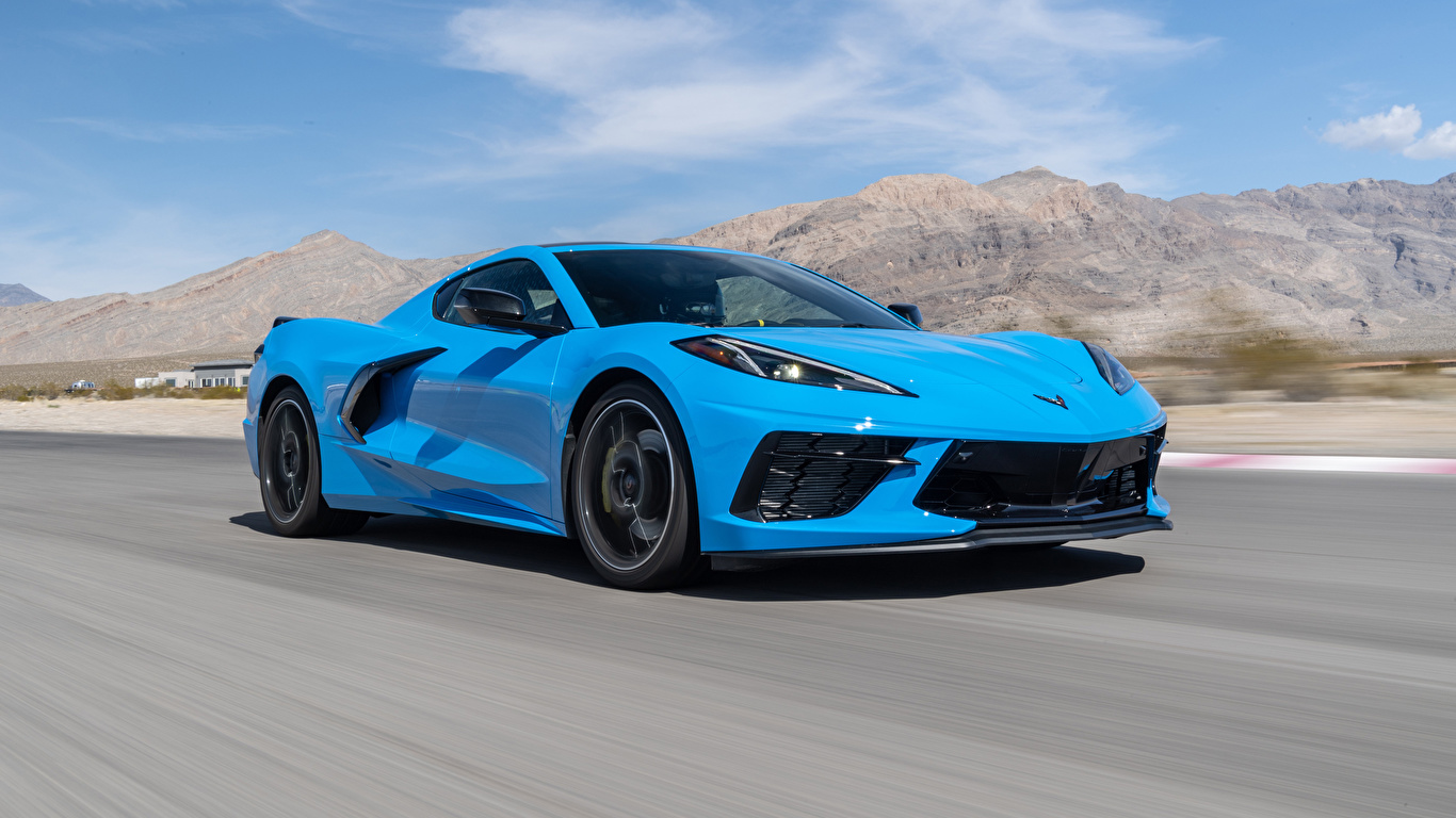 Картинки Chevrolet 2020 Corvette Stingray Z51 голубая едет авто 1366x768 Шевроле Голубой голубые голубых едущий едущая скорость Движение машина машины Автомобили автомобиль