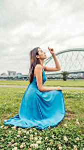 Фото Азиатки Трава Позирует Платье Рука Девушки