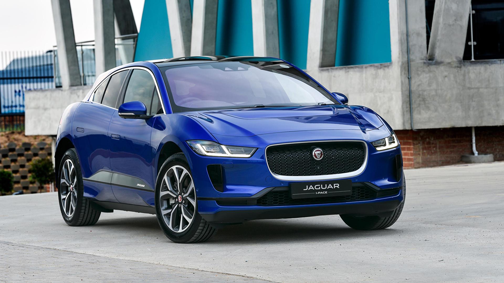 Картинка Ягуар 2019 I-Pace EV400 AWD HSE Синий машина Металлик 1920x1080 Jaguar синих синие синяя авто машины автомобиль Автомобили