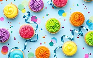 Фотография День рождения Капкейк кекс Ленточка Разноцветные Пища