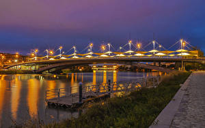 Фотографии Испания Речка Мосты Пристань В ночи Уличные фонари Penalosa Andalusia Города