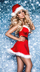 Фотография Рождество Платья Шапка Блондинка Взгляд молодая женщина