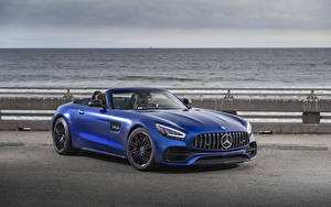 Обои Mercedes-Benz Синих Родстер 2020 GT C Roadster авто