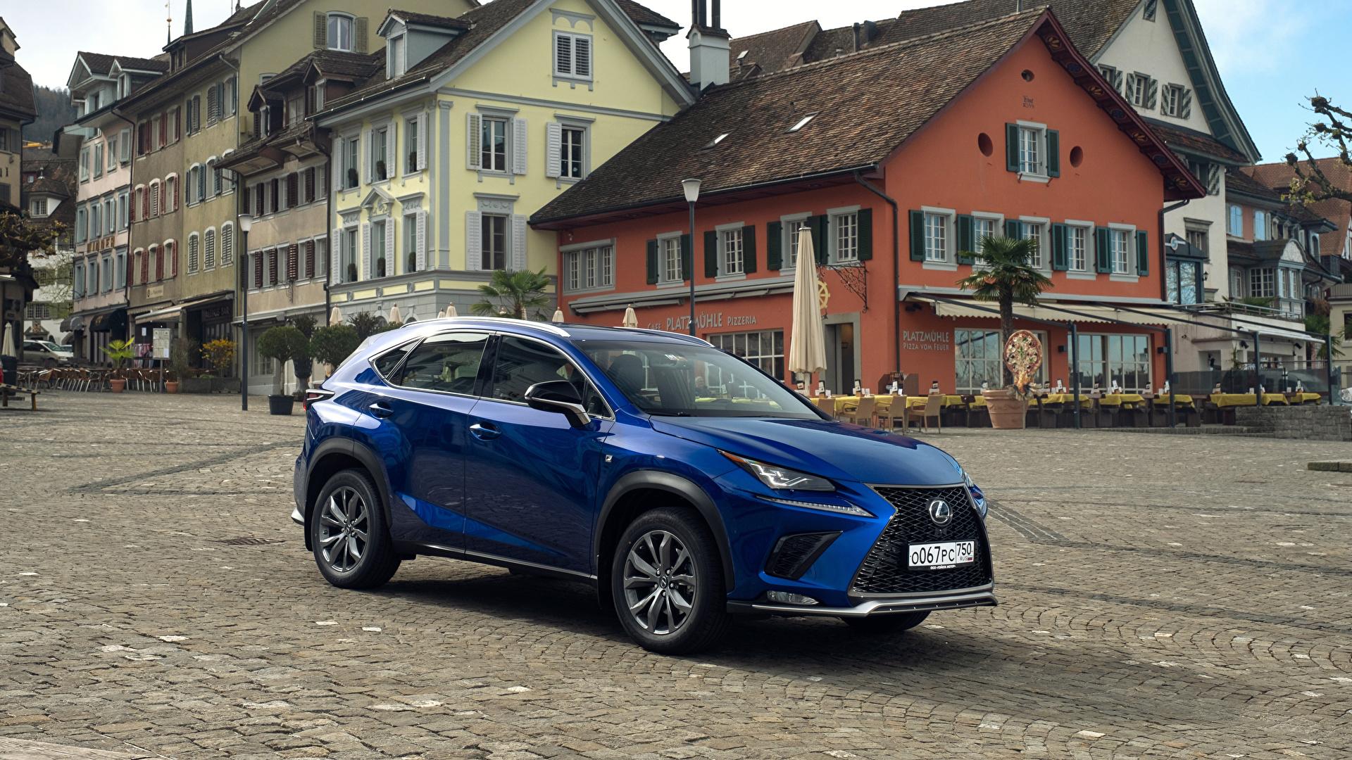 Картинка Лексус 2017-18 NX 300 F SPORT Worldwide синяя авто Металлик 1920x1080 Lexus синих синие Синий машина машины автомобиль Автомобили