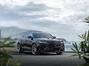 Картинка Lamborghini Черных Металлик CUV Urus, Novitec, 2019 Автомобили