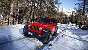 Обои Jeep SUV Красные Металлик Снег 2018-19 Wrangler Rubicon Авто
