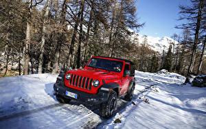 Обои Джип Внедорожник Красный Металлик Снег 2018-19 Wrangler Rubicon Авто