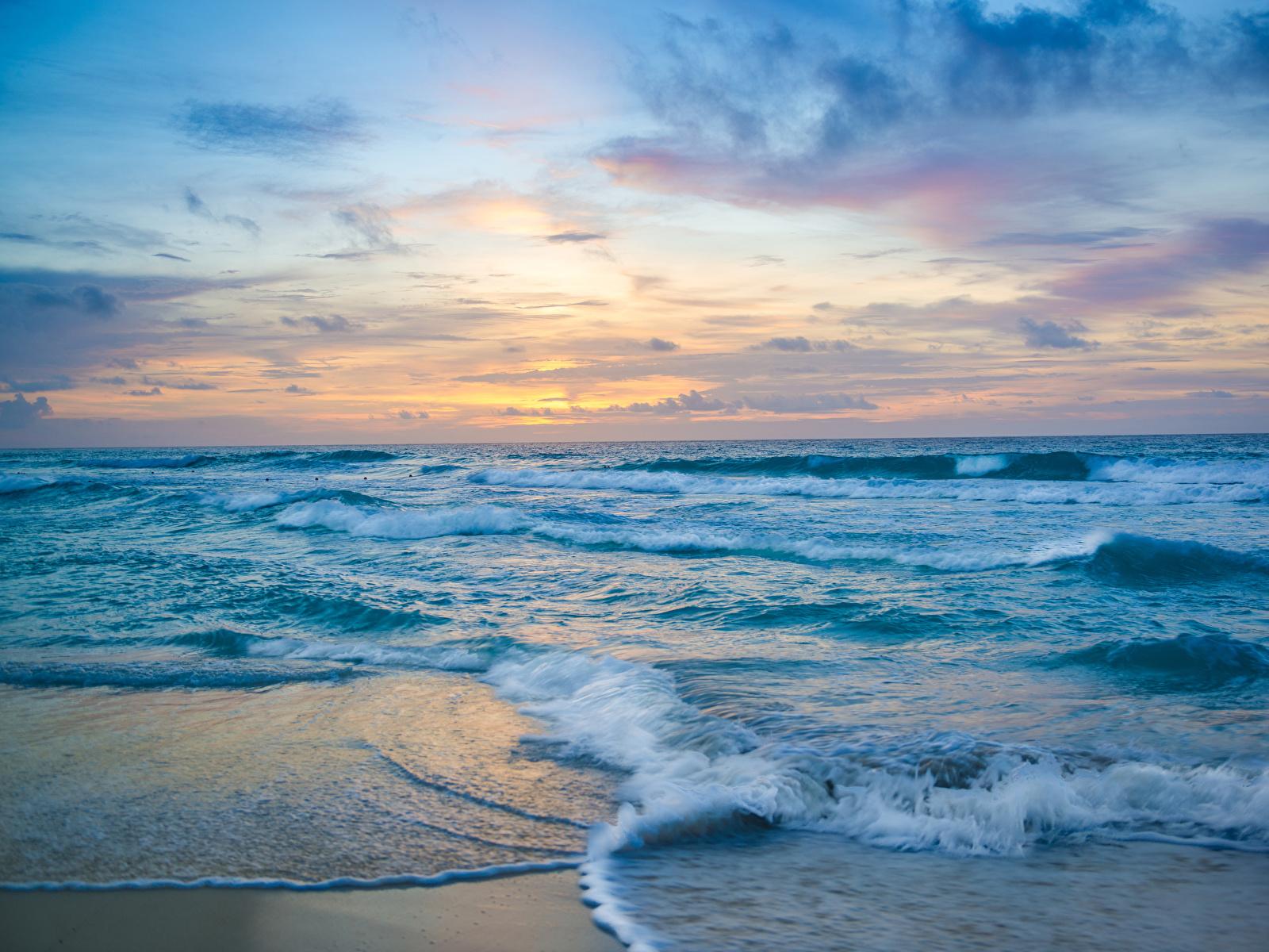 Фото Мексика Cancun Море Природа Волны Рассветы и закаты берег 1600x1200 Побережье