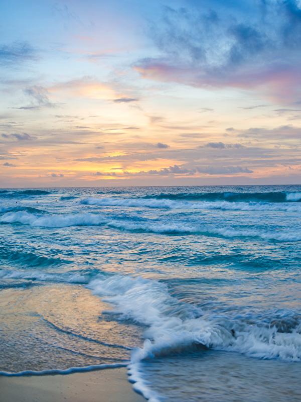 Фото Мексика Cancun Море Природа Волны Рассветы и закаты берег 600x800 для мобильного телефона рассвет и закат Побережье