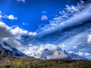 Фотография Чили Горы Небо Мох Облако HDR Patagonia Природа