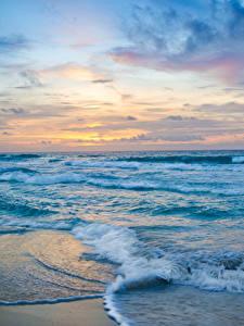 Фото Мексика Море Берег Волны Рассветы и закаты Cancun