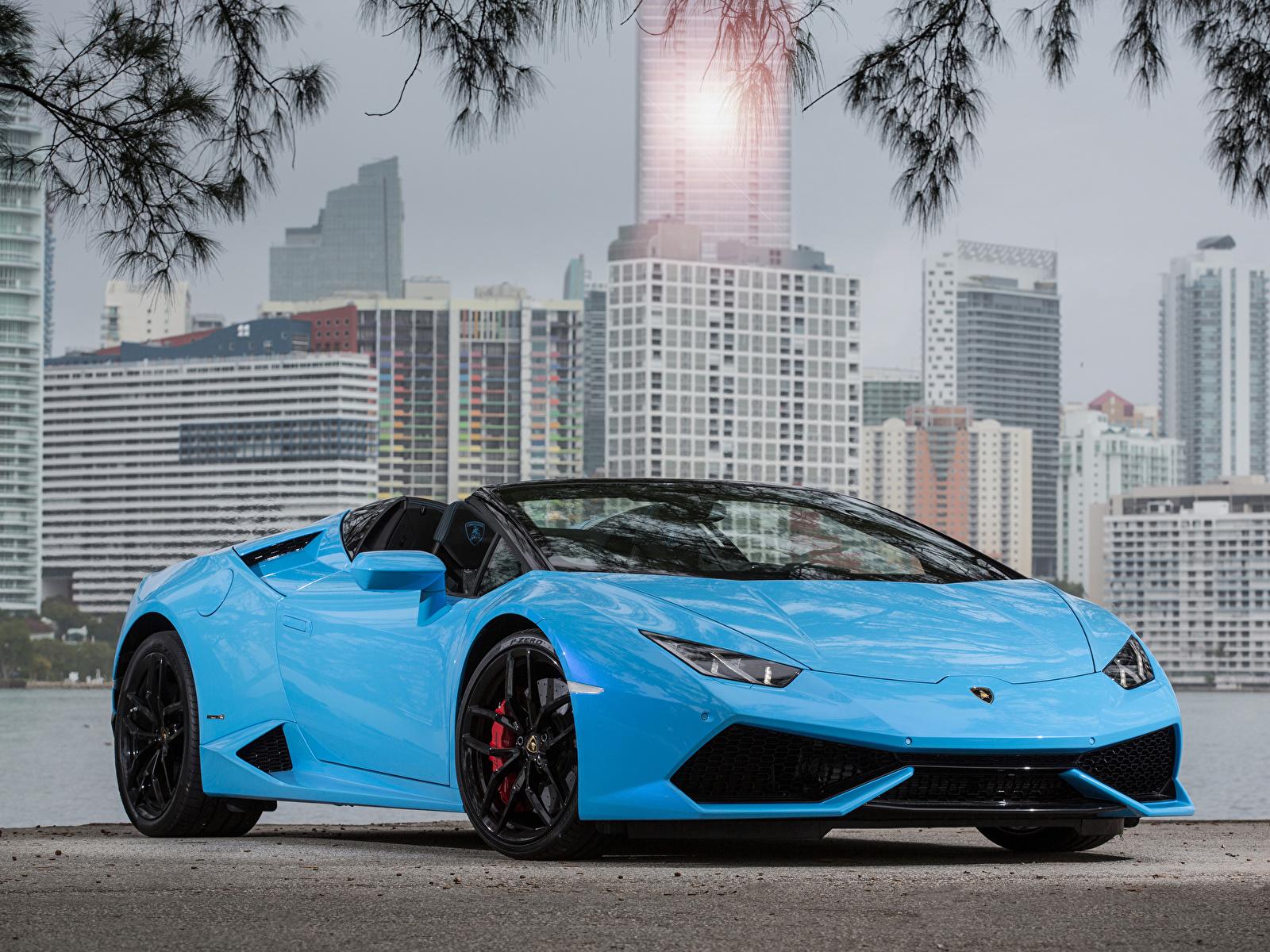 Фотографии Lamborghini 2015-19 Huracan LP 610-4 Spyder Worldwide Родстер голубая Металлик Автомобили 1600x1200 Ламборгини голубых голубые Голубой авто машина машины автомобиль