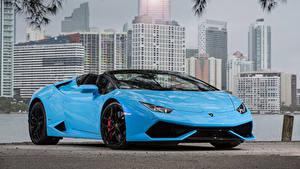 Фотографии Lamborghini Голубая Металлик Родстер 2015-19 Huracan LP 610-4 Spyder Worldwide Машины