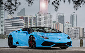 Фотографии Lamborghini Голубая Металлик Родстер 2015-19 Huracan LP 610-4 Spyder Worldwide машина