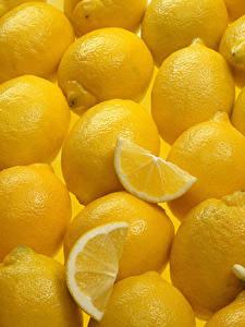 Картинка Текстура Лимоны Много Желтый Пища